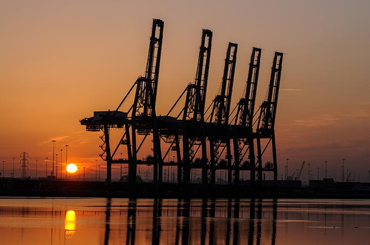 Sunrise at Southampton Container Port